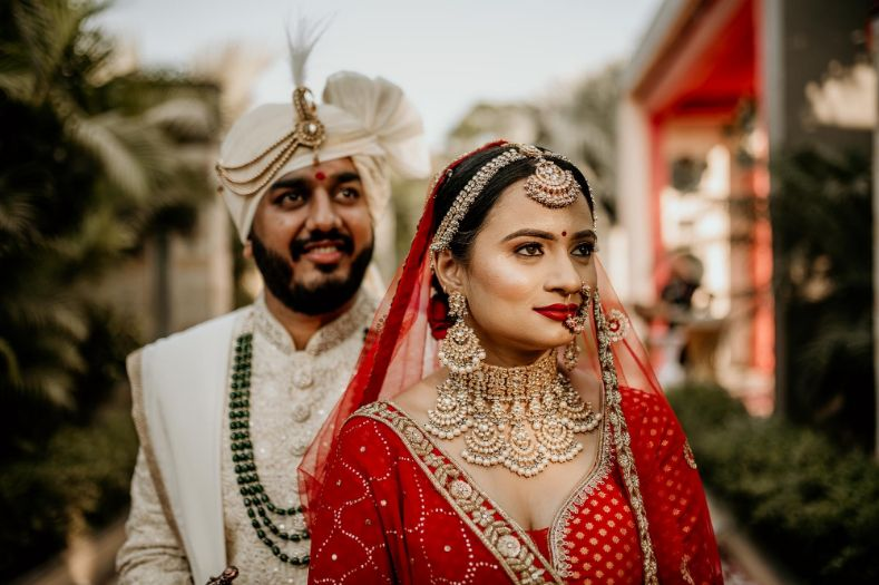 indian wedding , real bride , Traditional red lehenga bridal look , wittyvows