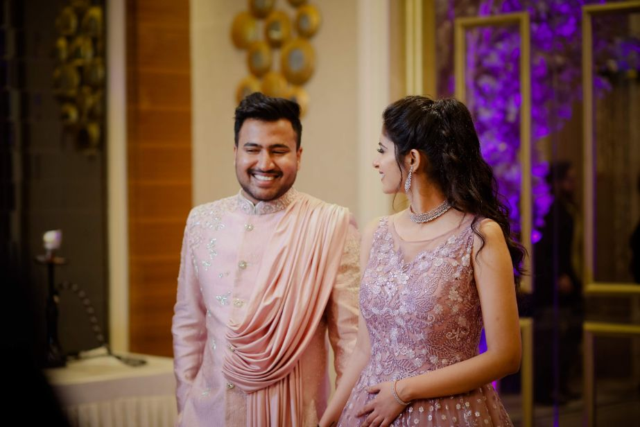 engagement gown | pink gown| twinning couple