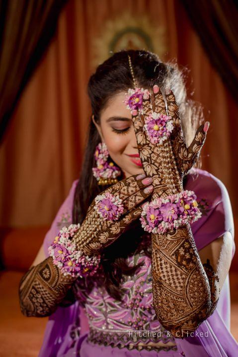 indian bridal henna, mehendi , floral jewellery