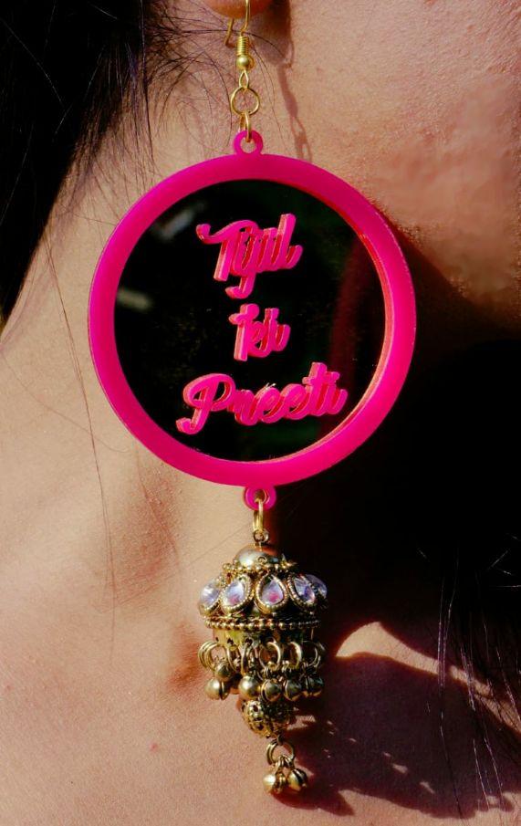 customised earnings indian wedding , indian bride , lehenga , chooda , real weddings , pink chooda , wedding blog