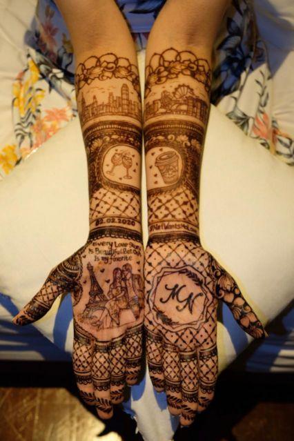 Henna design , personalised henna pre wedding shoot in paris , paris , wittyvows destination wedding in Phuket personalised henna design love story lehenga, mehendi , lehenga