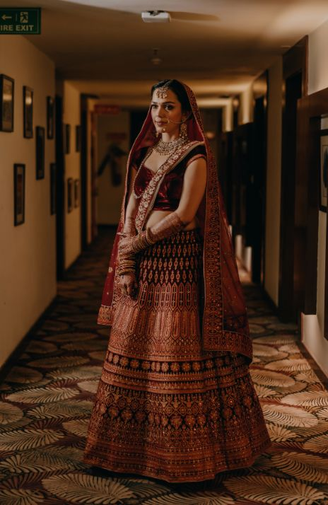Maroon red lehenga for brides-to-be | Indian Weddings |