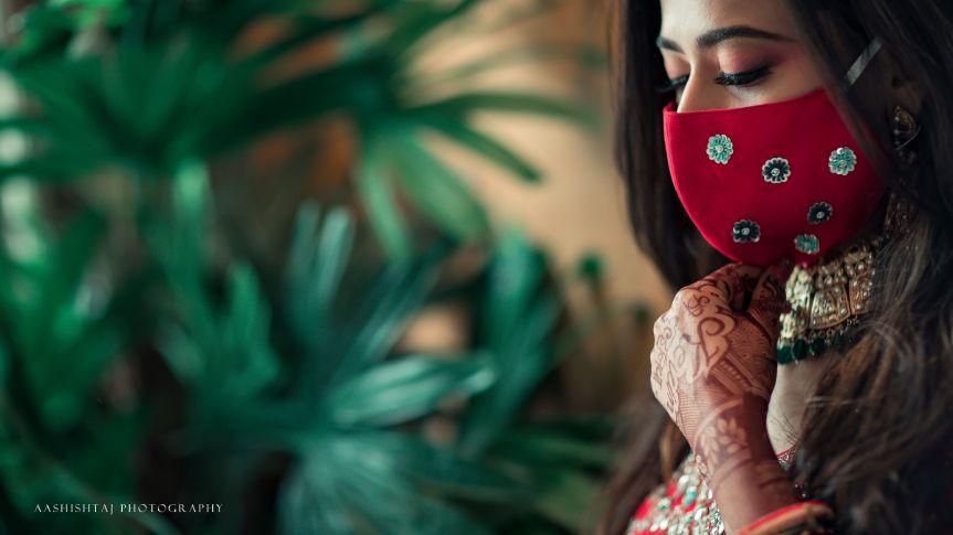 indain wedding , corona bride , mask fashion , bridal masks , indian weddings , hill station wedding | wedding in Saputara | bridal shoot