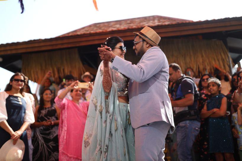 pool party, wittyvows , gaurav gupta gown , Indian bride , weddings , big fat indian wedding , red lehenga , sabyasachi bride indian destination wedding , lakeside wedding | wedding in hua hin | bridal entry in a boat