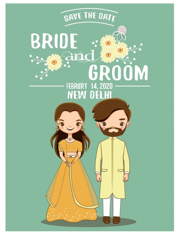 Cute bride and groom caricatures | Digital invitations | Wedding invites