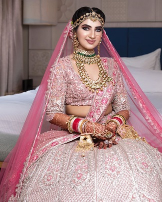 Pink lehenga with silver embroidery | Getting ready