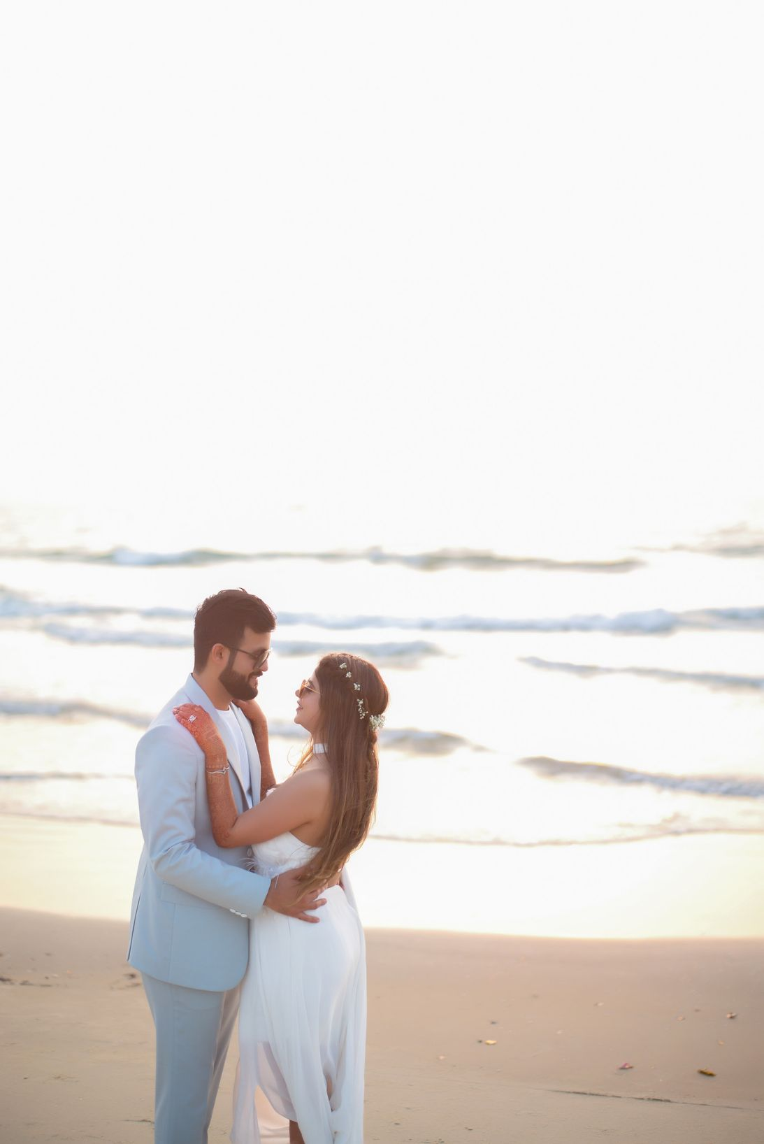 couple at the beach, all white , destination weddings , wittyvows , wedding blog Beach wedding | wedding in Goa | cocktail outfit | beach party
