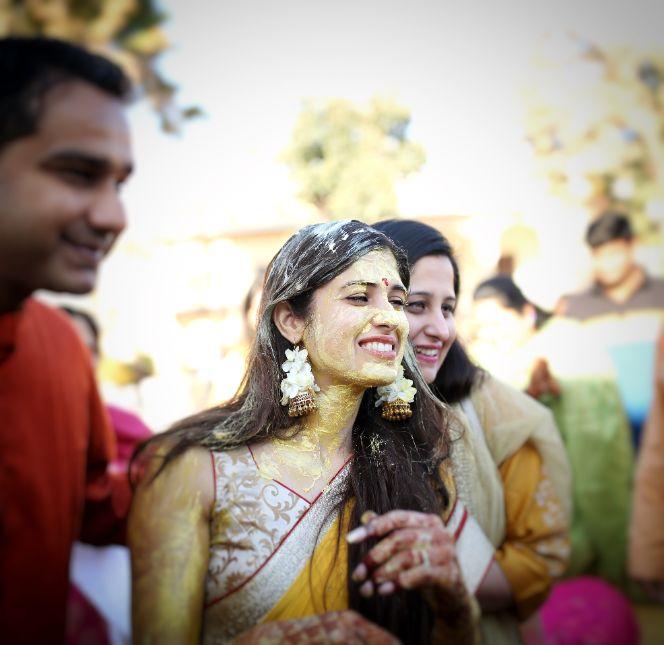 candid haldi ceremony photos