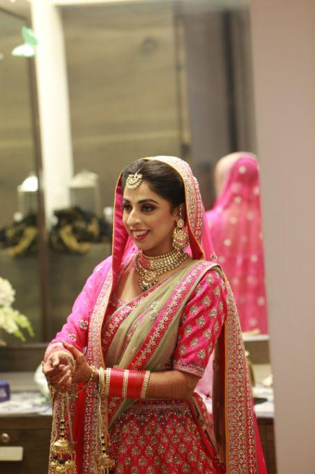 bridal portraits   indian wedding photography    Pink Anita Dongre Lehenga