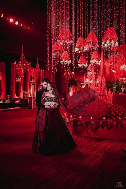bride in beautiful red velvet lehenga   Destination wedding in Fujairah