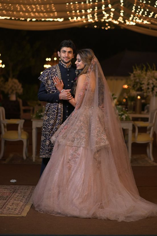 indian bridal fashion peplum blouse   engagement look   sparkling pink gown   gown for engagement   veil