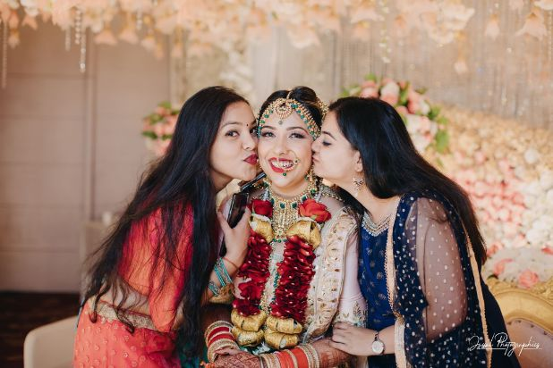 bride with her bridesmaids | indian wedding photography |
