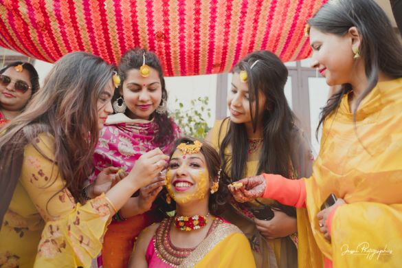 haldi ceremony | indian wedding | bridesmaids on haldi day |