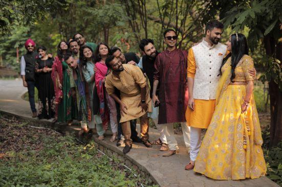 couple pre wedding shoot ideas | indian bridesmaids and groomsmen photoshoot