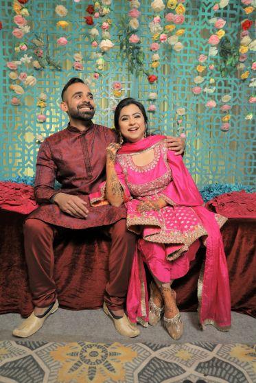 indian wedding indian bride , punjabi bride , peplum top | peach lehenga | Punjabi wedding
