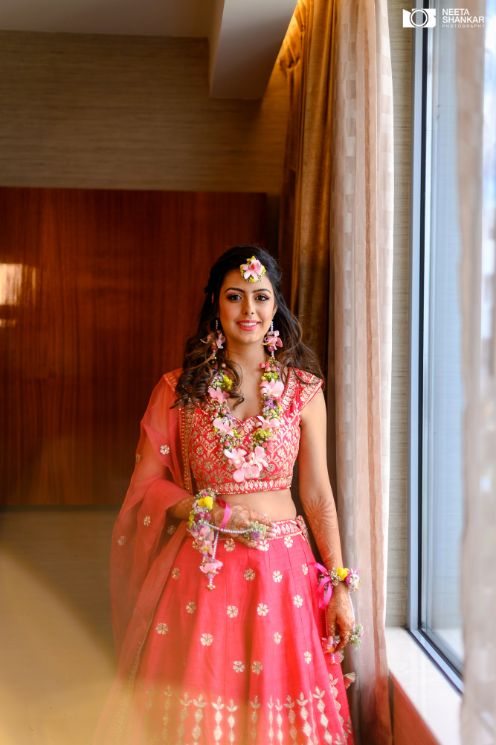 bridal hair and outfit look | mehendi day celebration