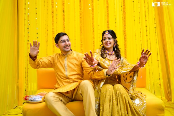 couple candid shots from the haldi ceremony