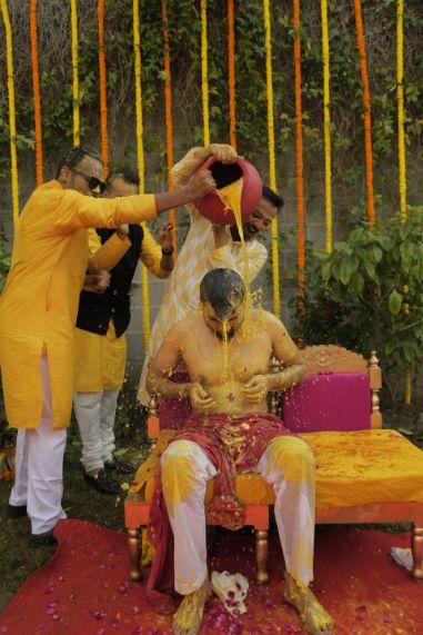 groomsmen at haldi ceremony | indian wedding fun |