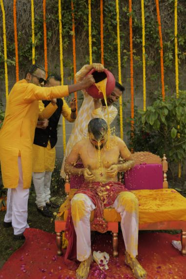 groomsmen at haldi ceremony   indian wedding fun  