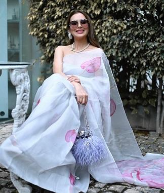 Pastel printed saree | Picchai | Karwa chauth look