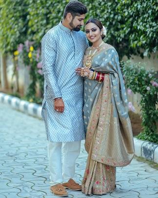 benarasi saree | saree look ideas | Couple goals | First karwa chauth