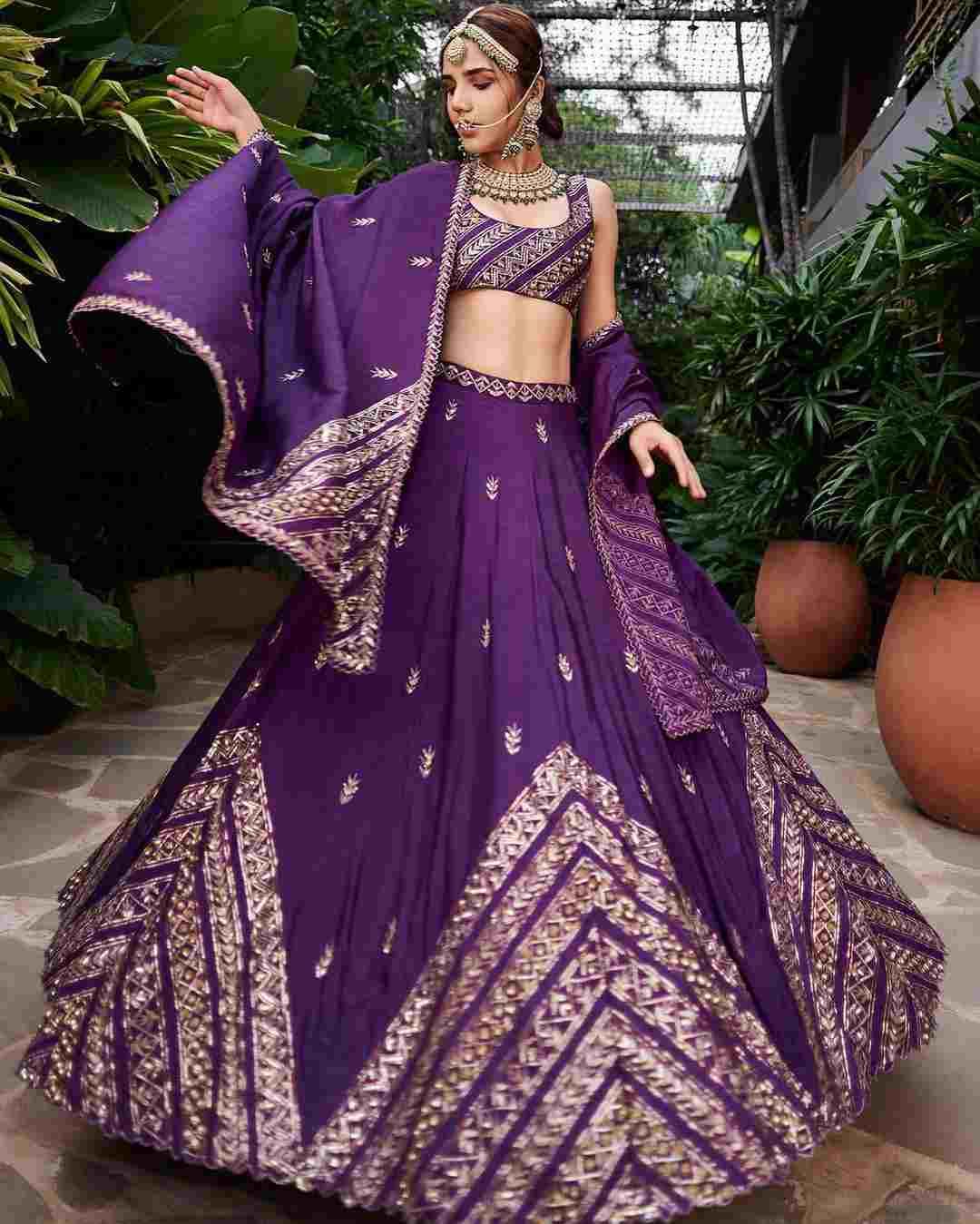 bridal winter lehenga | purple lehenga