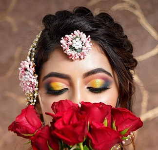 Flower jewellery | yellow smokey eye makeup