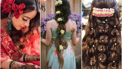 bridal floral hairstyles | mehendi hairstyles | 2021 brides