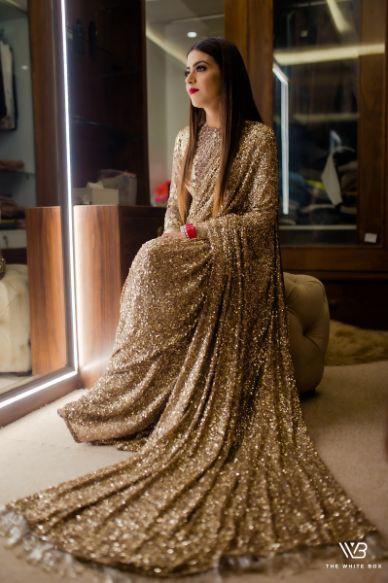 bridal saree | golden saree