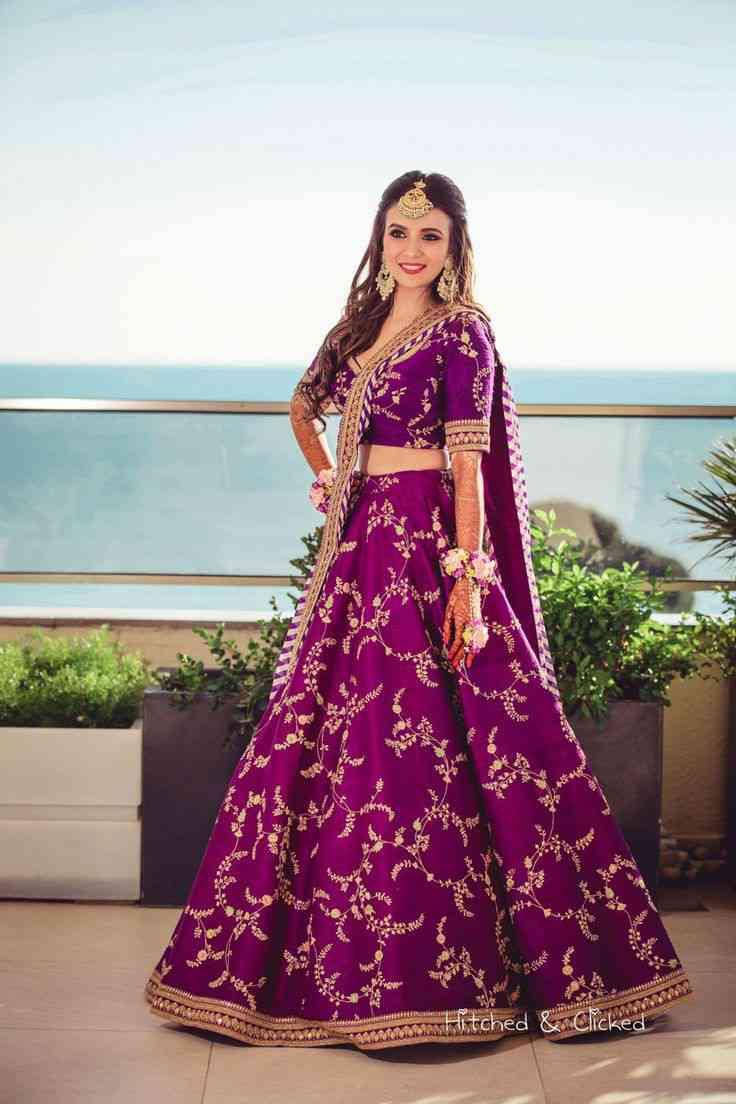brides of Sabyasachi | bridal colour | purple lehenga | lucky colours