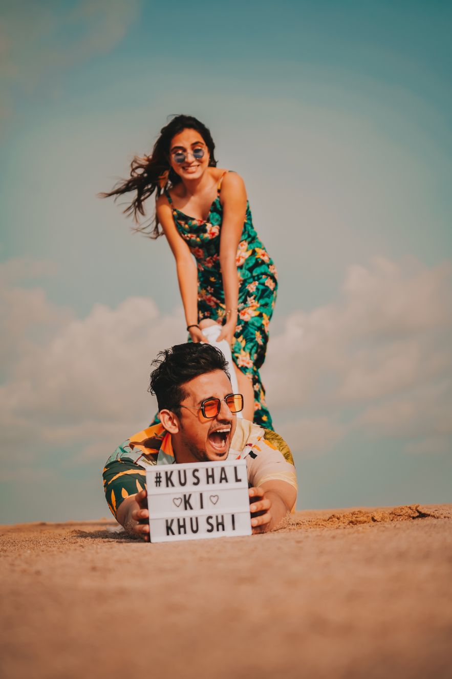 beach photoshoot , real indian wedding , Pre wedding shoot themes | underwater proposal | proposal shoot