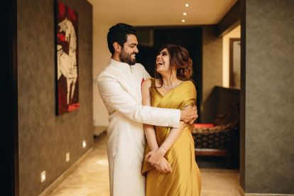 wedding decor , indian bridal outfits , 2021 indian weddings , Roka Ceremony At home , engagement look goals, gold saree