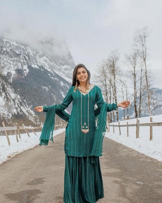Green sharara suit | Punjabi suit | Indian bride | first Lohri | Wedding trends