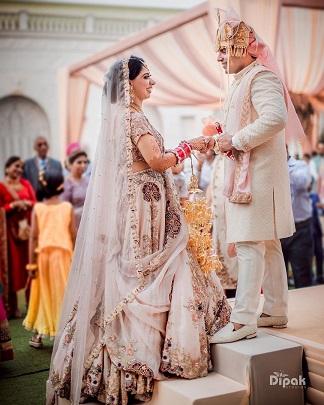 Pastel wedding lehenga by Anamika Khanna