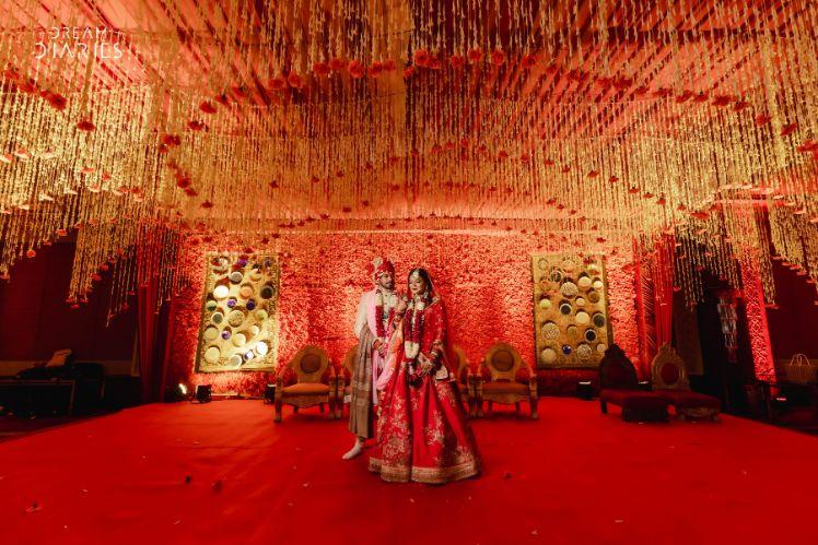 REAL INDIAN WEDDING , 2020 indian bride , floral wedding decor   reception cake   Sabyasachi bride
