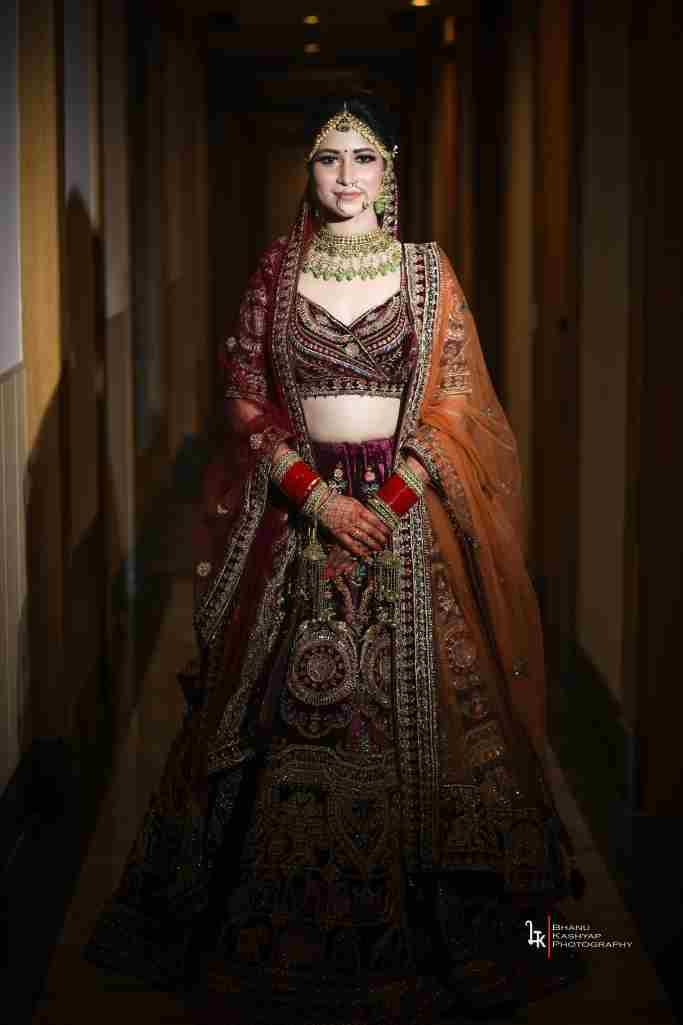 bridal lehenga | velvet lehenga | thread embroidery