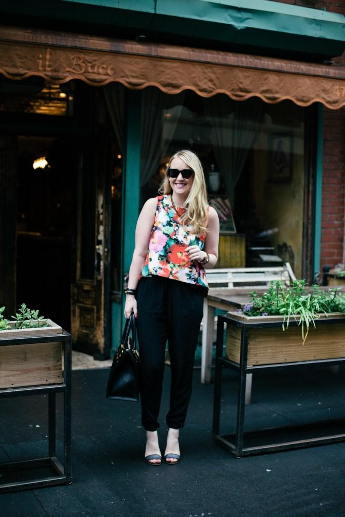 meghan donovan-floral top - silk pants