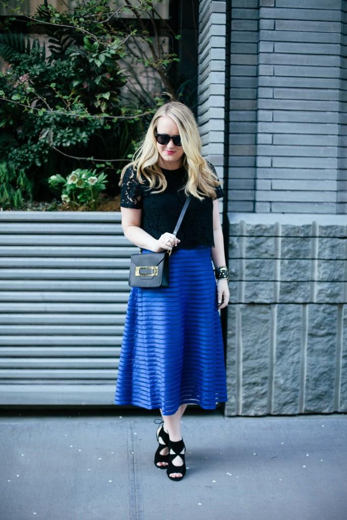 wit & whimsy I blue midi skirt
