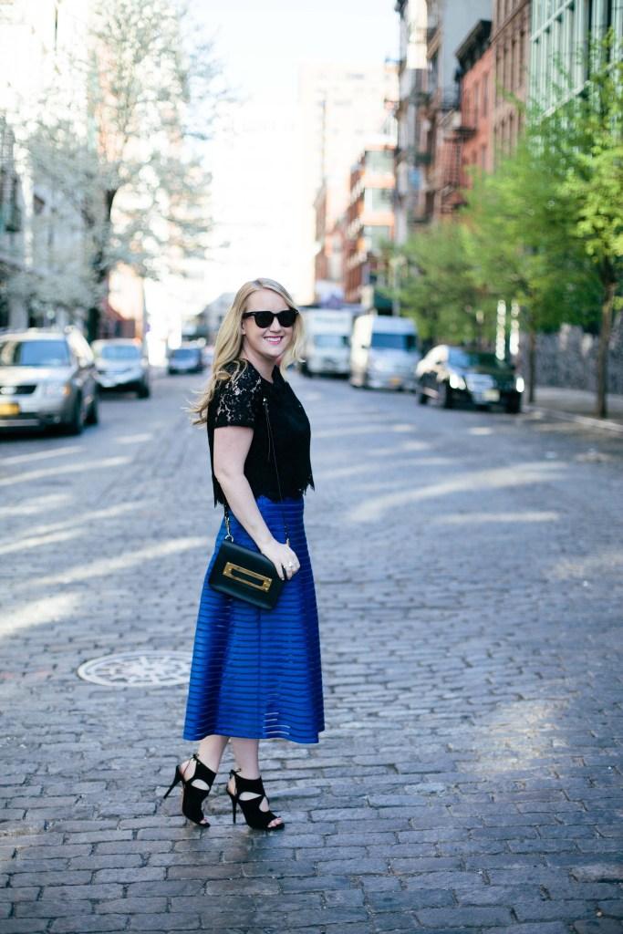 wit & whimsy I lace skirt + blue midi skirt