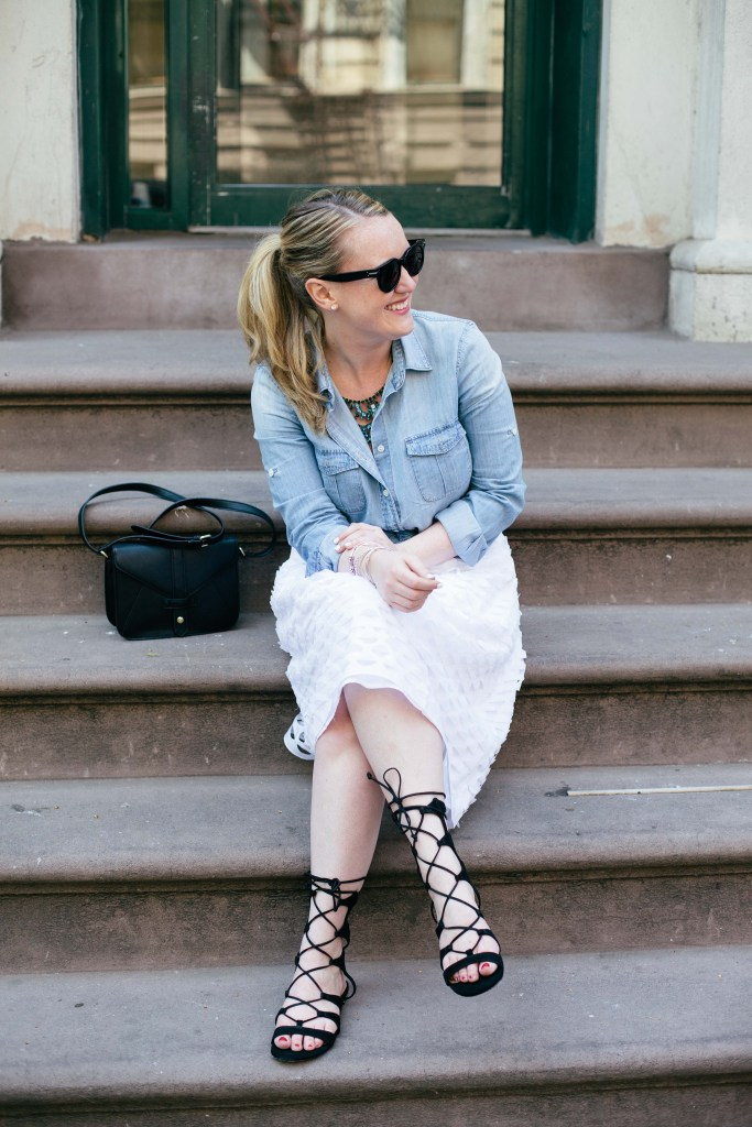 wit & whimsy I white midi skirt and chambray shirt