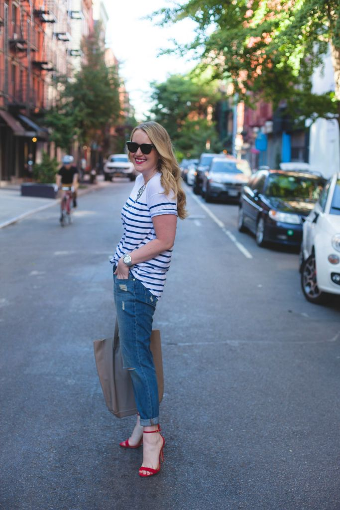 striped tee and boyfriend jeans I wit & whimsy