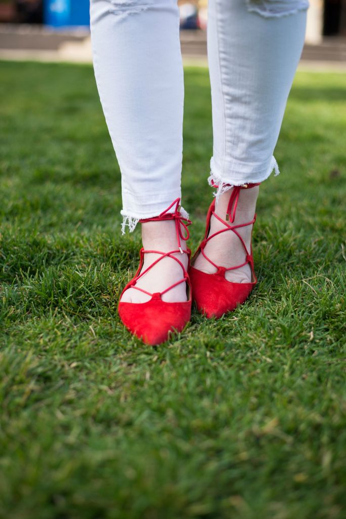 White denim + Red Lace Ups I wit & whimsy