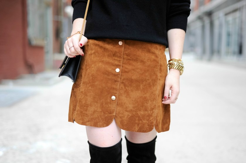 Mango Suede Scalloped Skirt I wit & whimsy