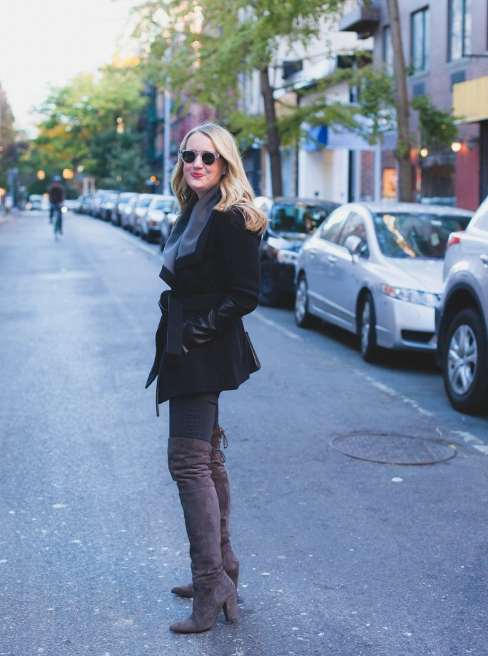 Wrap Coat + Over the Knee Boots I wit & whimsy