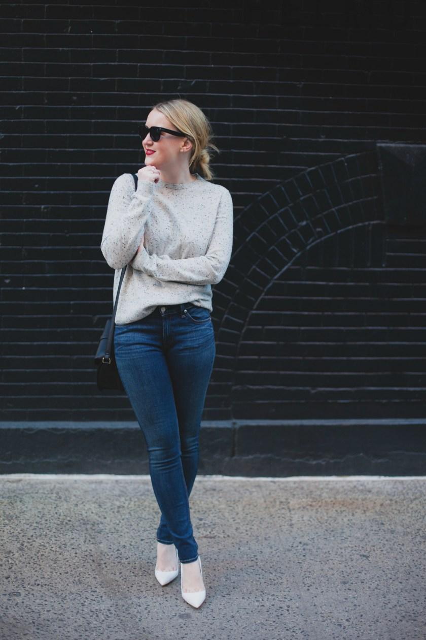 Everlane Sweater I Manolo Blahnik BB Pumps