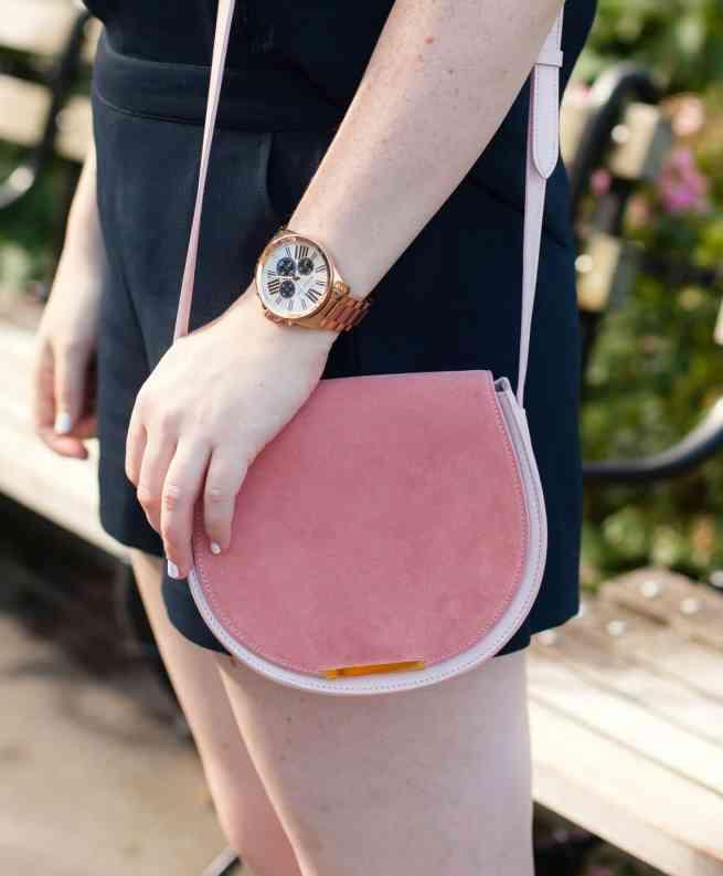 Rosegold Watch + Suede Saddle Bag