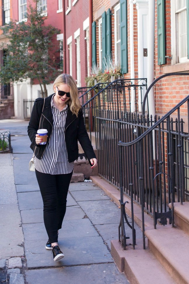 Silk Stripes and Sezane Sneakers on Meghan Donovan of wit & whimsy
