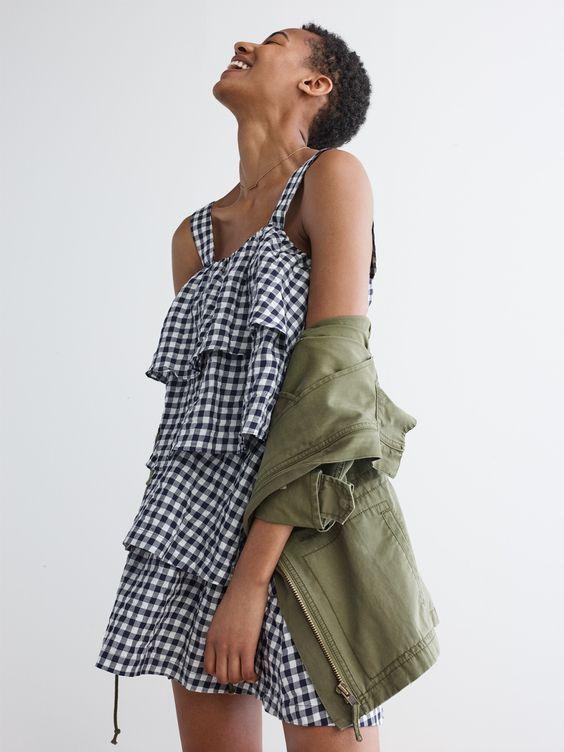 gingham dress + utility jacket