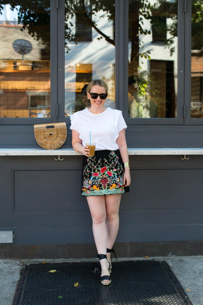 Meghan Donovan of wit & whimsy styles an embroidered skirt