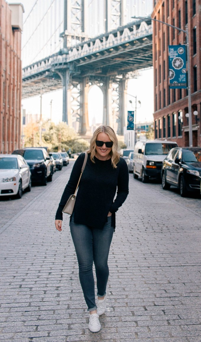 Meghan Donovan of wit & whimsy wears a monochrome Fall look